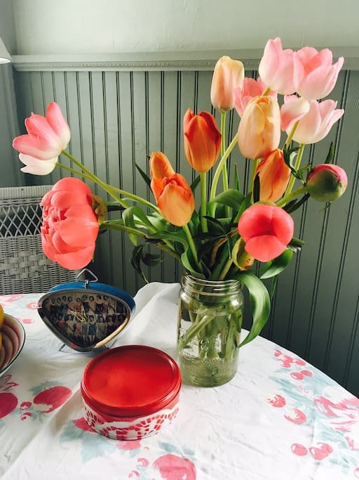 Kitchen: The  table changes depending on the season.