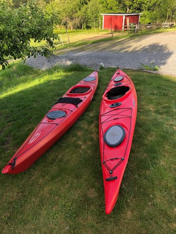 2 kayaks for rent.  400 kr per kayak per day or 2000 kr for a week per kayak . Comes with paddle and life vest