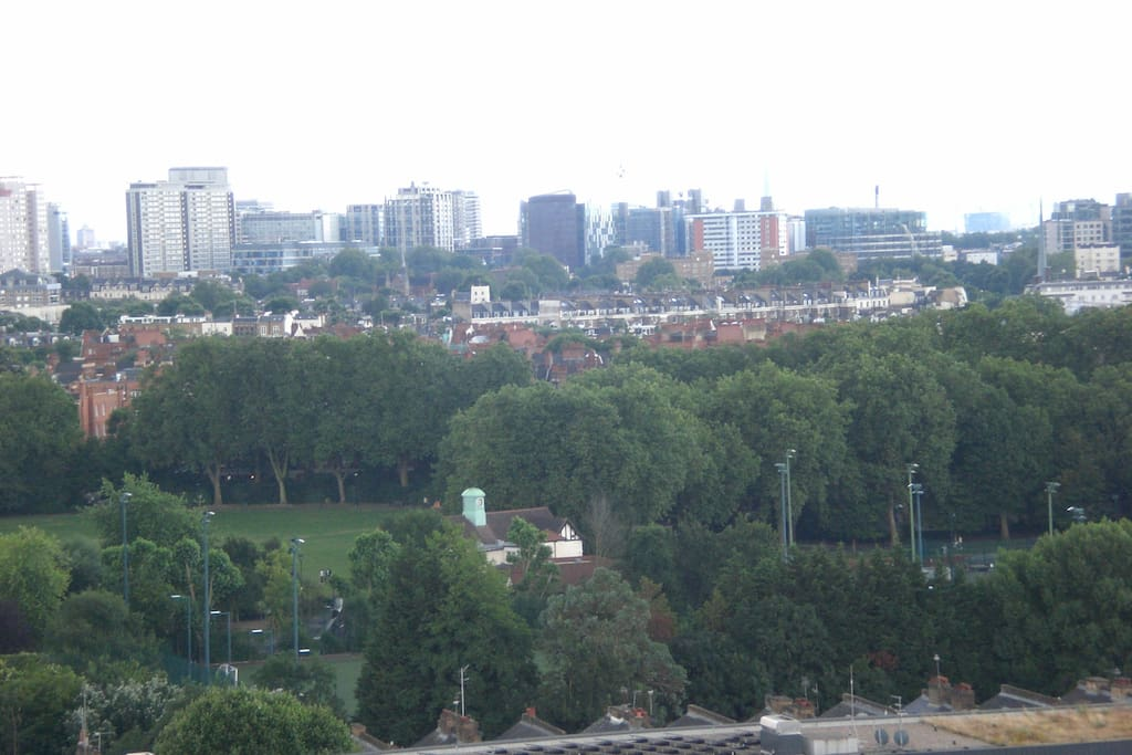 From the room's window, view of my local park, with athletic track, tennis courts and sports courts