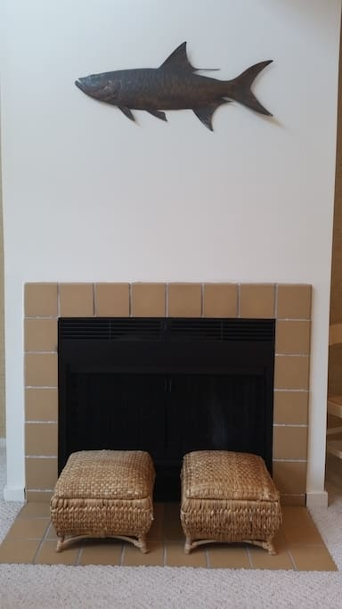 Cozy woodburning fireplace