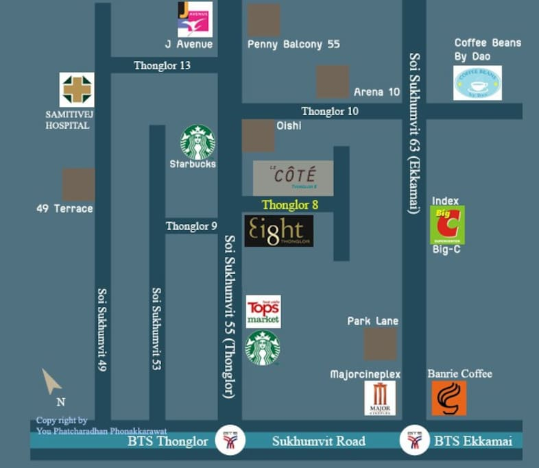 Located in Thonglor8 next the Ei8ht & FoodLand SuperMarket (24Hrs)