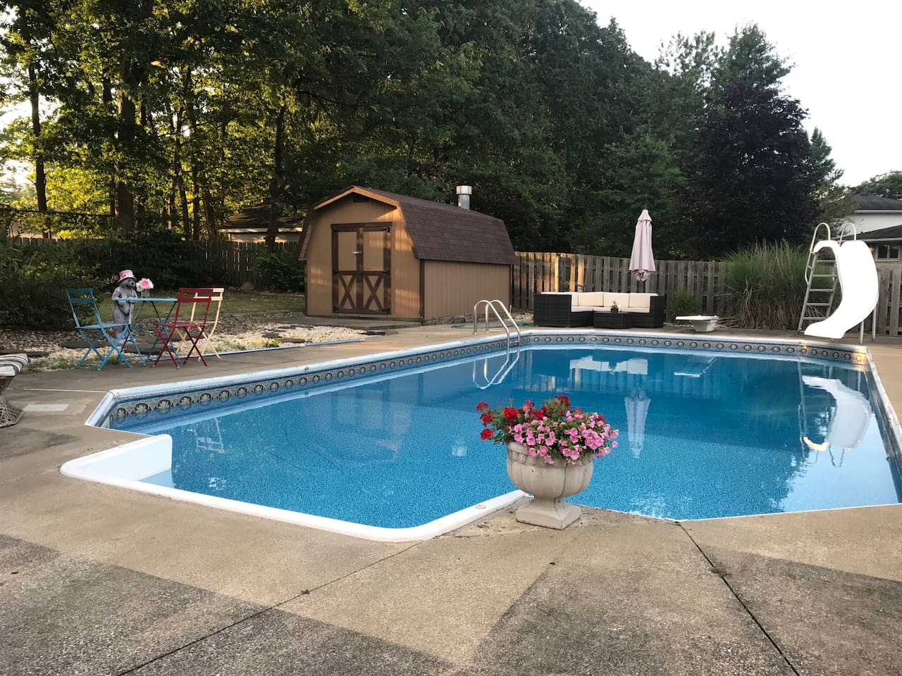 Our private, full size pool is heated May thru September