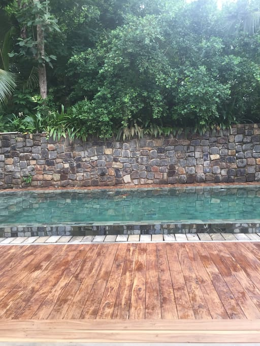 Newly renovated pool and decking areas with hardwood timber decking.