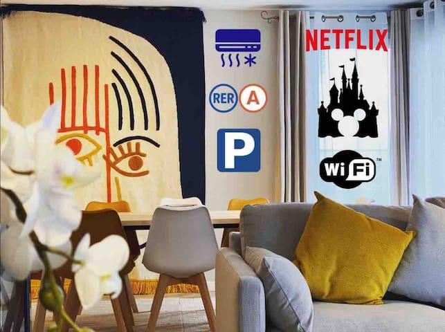 NEW Proche RER/Disney Penthouse climatisé