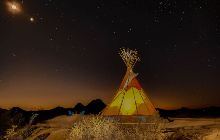 "Tin Valley Retro Rentals Tipi  ""Blue Lizard"" - Terlingua"