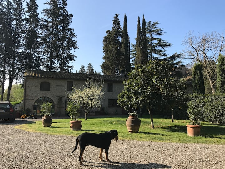 Chianti farmhouse on the river with fenced park