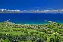 Aerial of The Ridge showcases how close the villa is to the ocean and beaches