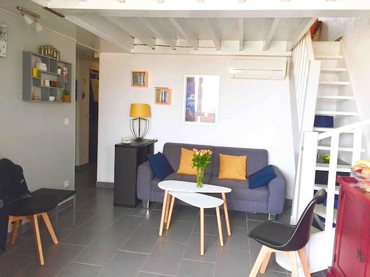 Duplex 55 m2 direct plage, 3 chambres, 6 pers wifi