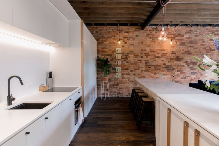 Large cooking and dining space