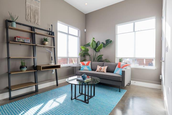 New! Private ensuite, loft ceilings, heated floors