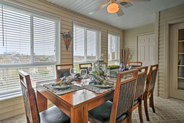 Dine with a view in this glass enclosed dining room.