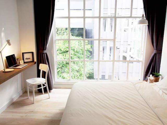 Warm room in quiet area with loft interior design