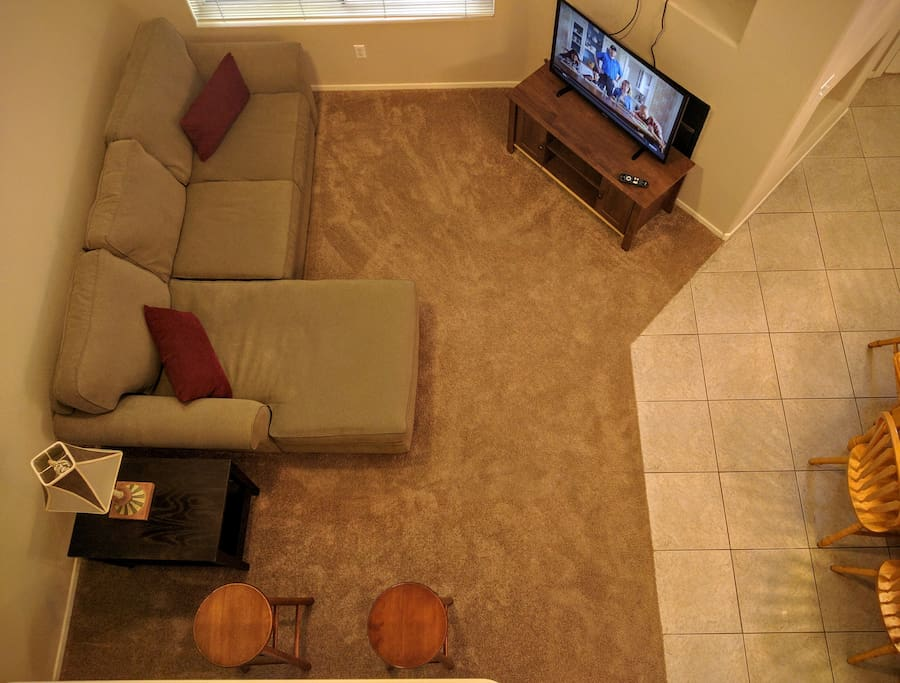 View of the living area from the loft above.