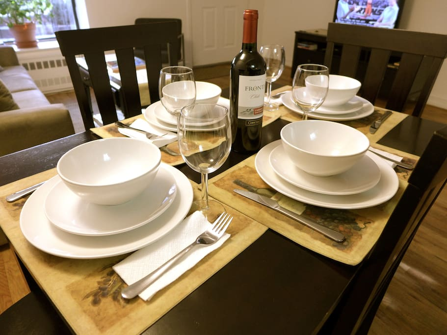 Table Setting for 4 and wine glasses for that lovely wine!