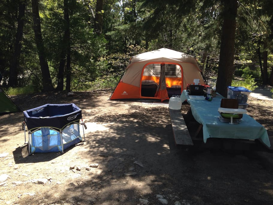 Your campsite will be completely set up prior to your arrival, using new or like-new equipment. Everything you need for your stay is provided.