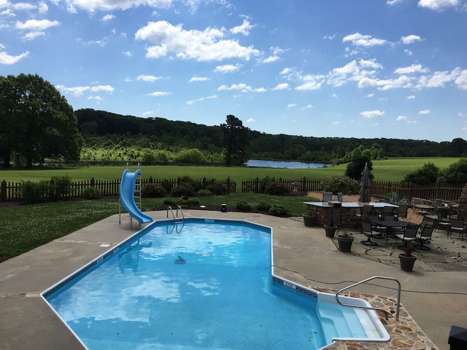 Upper Deck Pool View w Pond in background