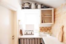 Inside kitchen corner.