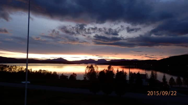 Midnight sun and northern light Brøstadbotn