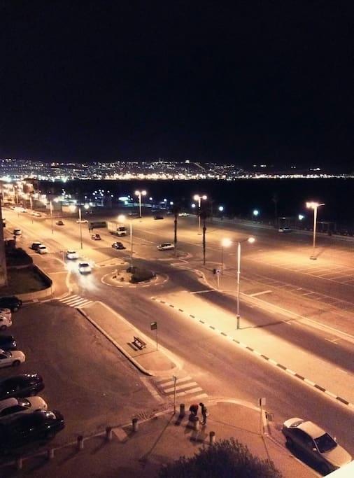 View from the window at night. Haifa