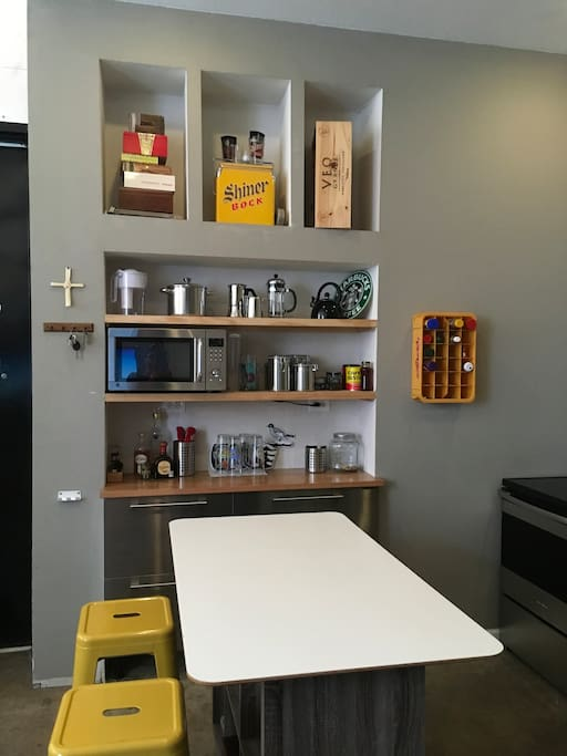 Kitchen island and bar/pantry.