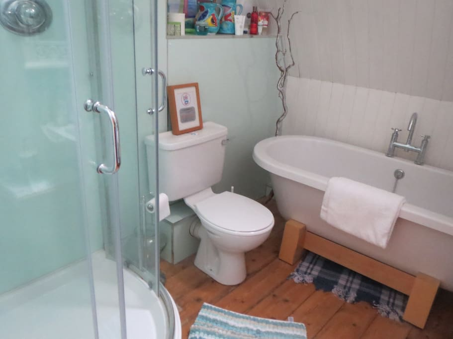 Guests double bathroom with Power shower and Roll top bath!