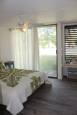 Spacious Bedroom with comfortable King bed, full closet, separate a/c unit and ceiling fan.