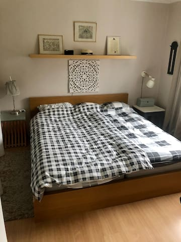 Master bed room in a clean & quiet house