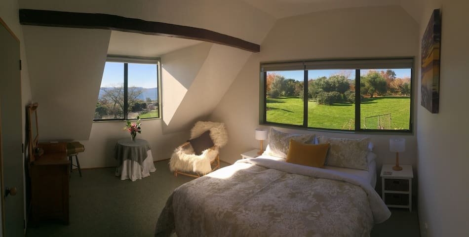 Bedroom Two, Hinemoa Room -Queen Bed and Views