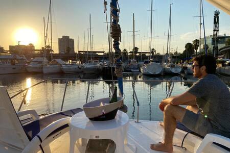 Fantastic catamaran boat in Barcelona