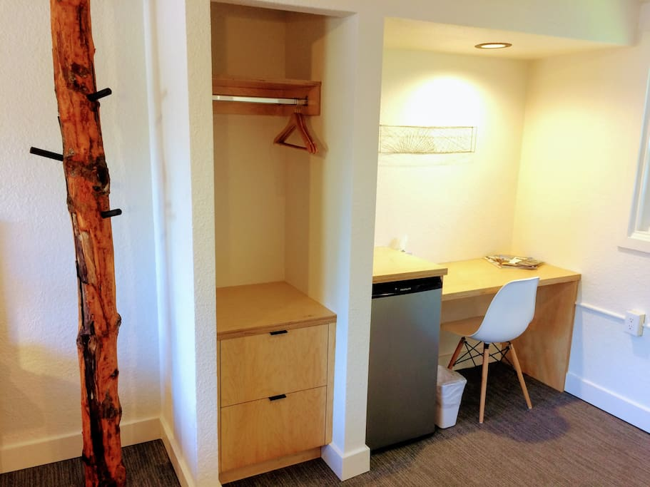 Custom built cabinetry and desk by Smith & Vallee Woodworks, mini-fridge