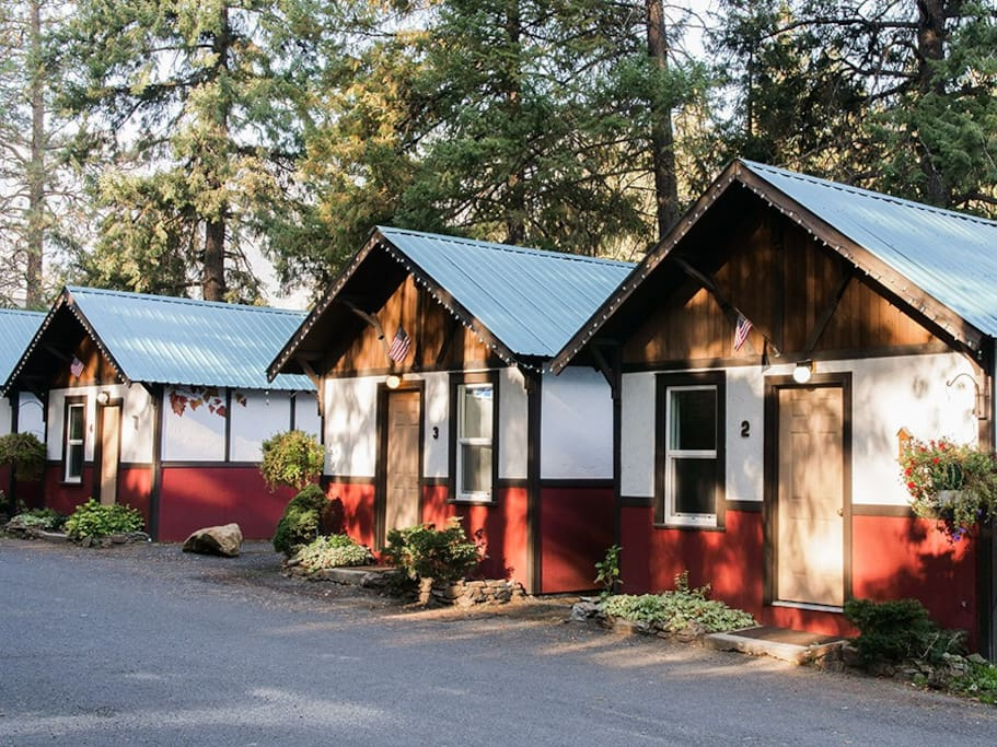 The cabins in summer
