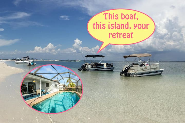 SandbarVacation+Pontoon Boat+Island Beach+Pool+com