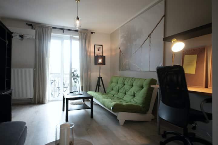 Cozy Apartment w. balcony, Netflix, free parking