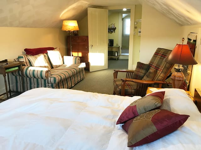 It's a sweet suite. The Bedroom Nook, Kitchen Nook, Bath with Slipper Tub, 2nd full bath with stand up shower.  Stay a spell and make it your home away - there is a closet and a dresser to settle in.