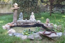 Fountain in the garden - the iron snake was forged by one of my students..