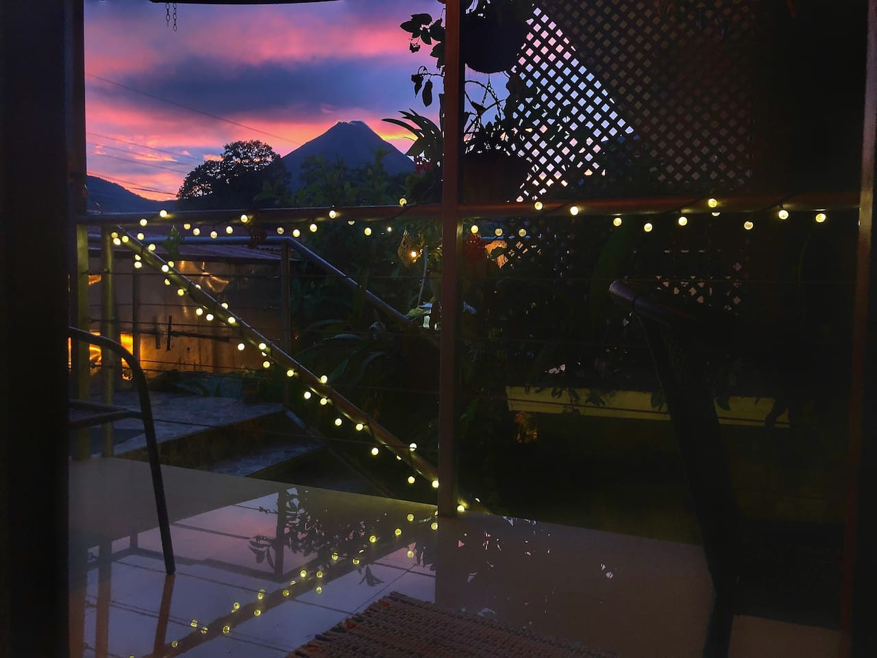 This beautiful sunset and volcano view is right from the porch of the apartment. Sunsets are not always as colorful as this one but it's possibility that you can see one, during your stay.