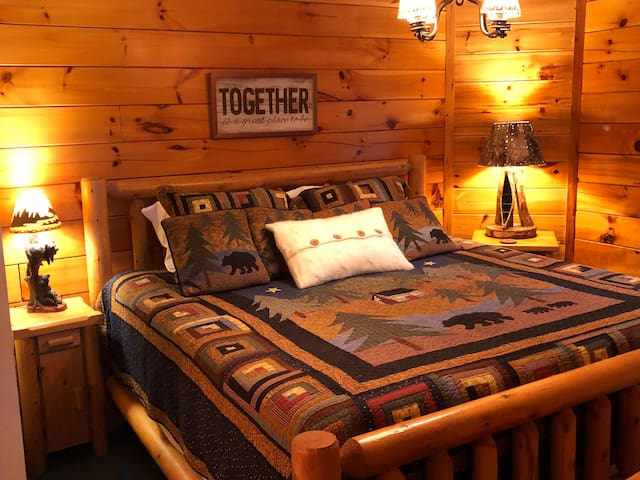 Wake up in the mountains in your comfy king size bed.