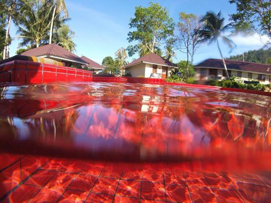 Red swimming pool