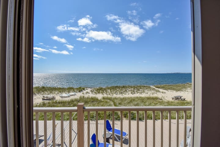 #203: Sweeping view of Cape Cod Bay! Updated 2-bedroom right on the beach!