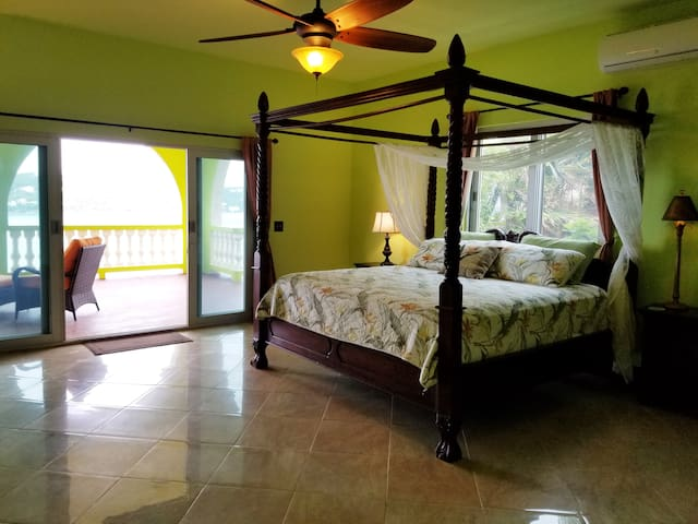 The Jungle Room has an adjoining balcony that overlooks Magens Bay