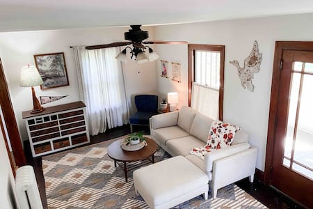 Three bedroom farmhouse. Clean, cozy + welcoming!