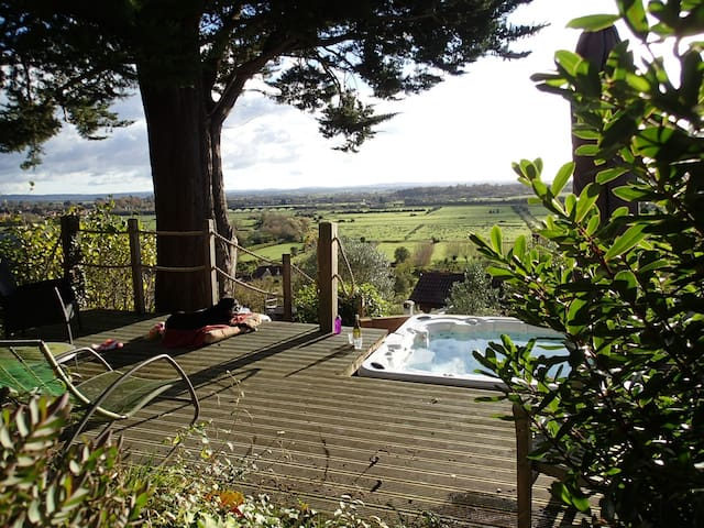 Hot tub with view of the Somerset Levels