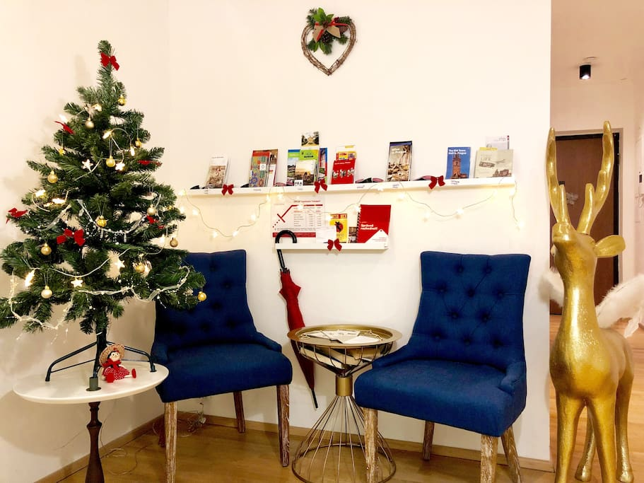 Common hall is decorated during advent, Christmas and New Year