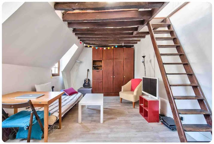 Retro-Styled Studio with Attic   Marais