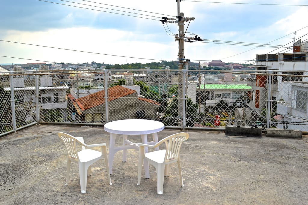 You can relax and enjoy a great view of Shuri Castle from our rooftop!