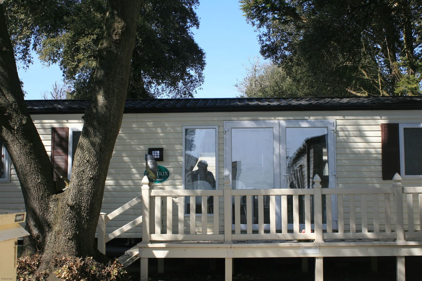 Side view of your holiday home showing decking