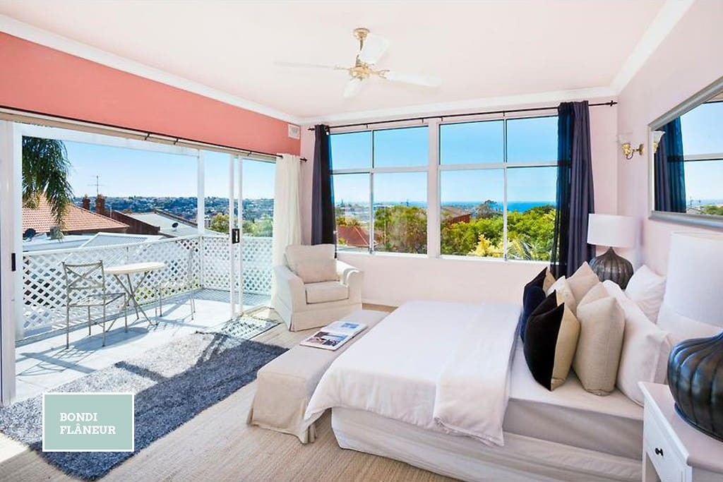 Bedroom #1 - Spectacular views across Bondi to the ocean.