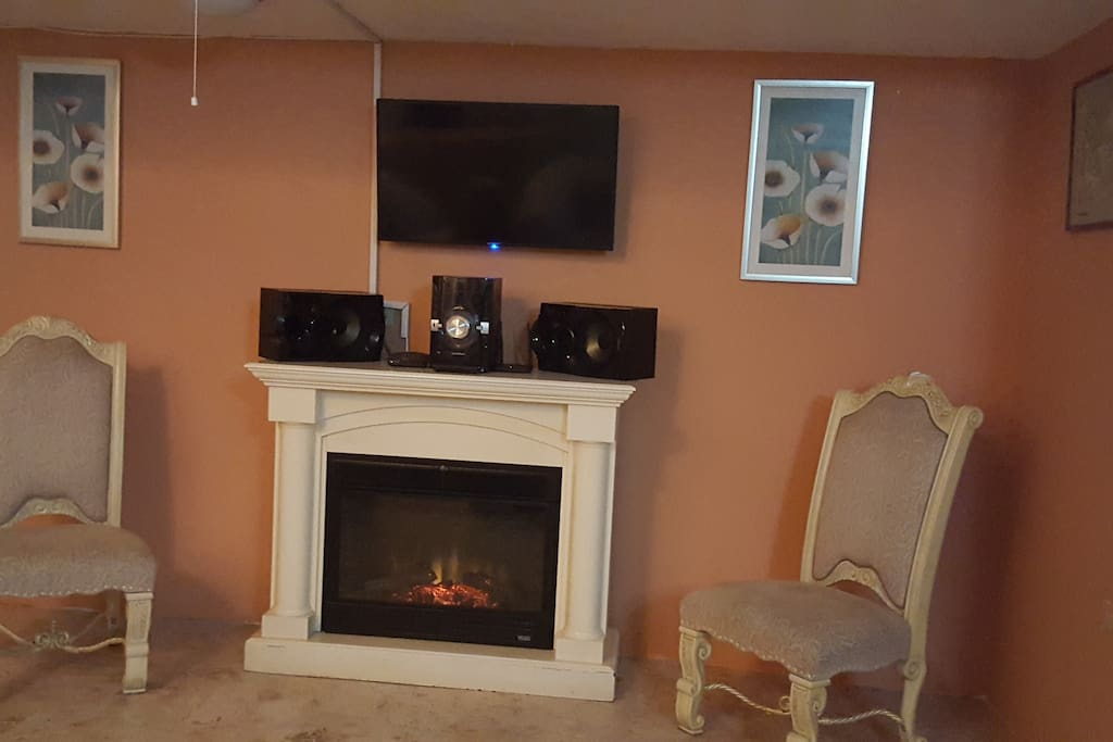 A fireplace.. for the occasional chilly day!