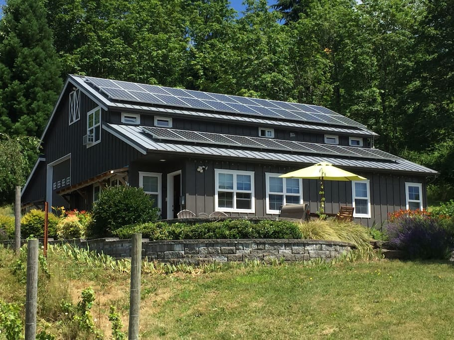 View of solar home and patio