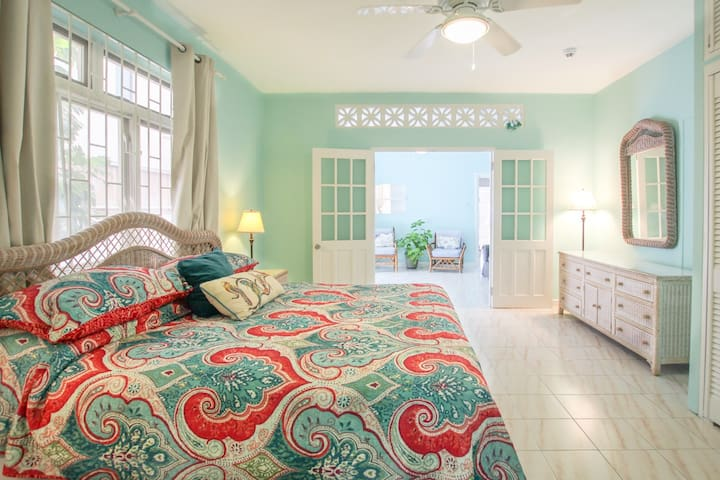 Spacious master bedroom with air-conditioning and king bed